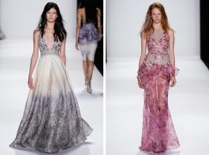 Pro Black tie si etiketa žádá pořád dlouhé plesové šaty, i když už mohou být méně pompézní, více barevné i vzorované. Pořád se držte ale na rozdíl od modelek na obrázku uzavřených lodiček na podpatku a vyčesaných společenských účesů. Šaty na obrázku jsou z kolekce Badgley Mischka (RTW S/S 2015).
