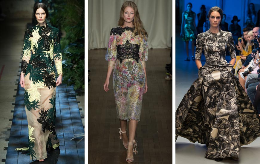 Londýnští návrháři a značky navrhli pro plesovou sezónu 2015 také vzorované šaty. Na méně formální plesy si vzory můžete klidně obléct.