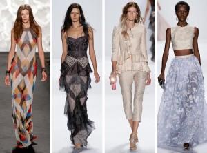 Plesové šaty pro Creative black tie mají být dlouhé, ale umožňují být vyzývavější, kreativnější a dávají prostor nejžhavějším módním trendům i crazy nápadům módních návrhářů. Večerní šaty na obrázku jsou z kolekce Naeem Khan a Badgley Mischka (RTW S/S 2015).