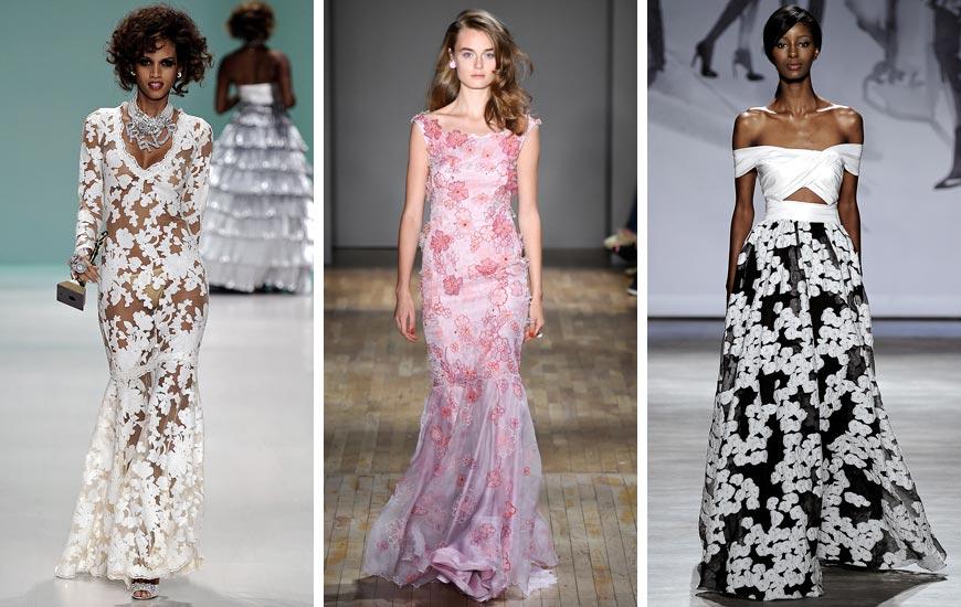 Trochu předčasně, ale úchvatně - tak rozkvetly plesové šaty z kolekcí Betsey Johnson, Jenny Packham a Lela Rose.