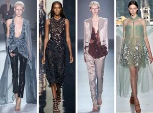 Krátké plesové šaty, společenský kostýmek nebo slavnostní kalhoty s luxusní halenkou můžete obléct na méně formální akce, označené jako Formal nebo Coctail. Šaty na obrázku jsou z kolekce Reem Acra, Haider Ackermann, Christopher Kane a Delpozo (RTW S/S 2015).