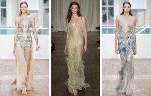 Módní průhlednost opanovala módní trendy také v Londýně. Plesové šaty 2015 se nebojí poodhalit ženskou krásu se špetkou odvahy.