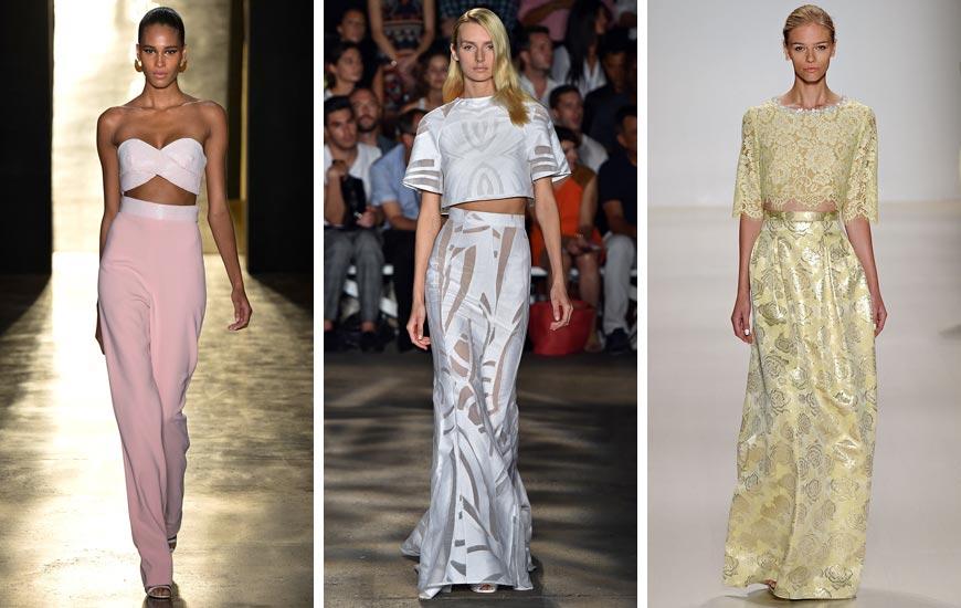 Plesové šaty se v nové siluetě pro rok 2015 představují jako kombinace topu se sukní či s kalhotami. Podobný model najdete například v kolekci Cushnie et Ochs, Erin Fetherston nebo Christian Siriano.