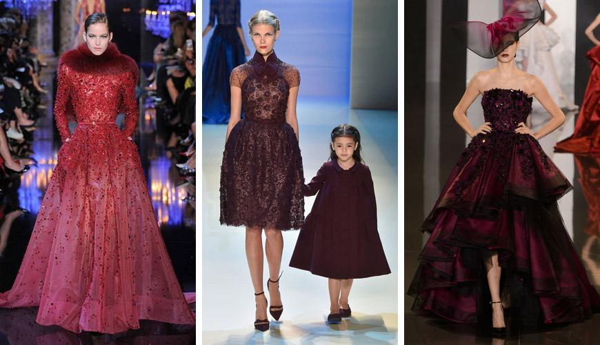 Společenské šaty v barvě roku 2015 Marsala z kolekcí Elie Saab, Georges Hobeika a Ralph x Russo.