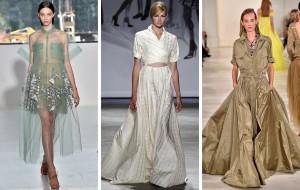Běžné kousky šatníku předělané na slavnostní kousky na ples. Tak plesové šaty 2015 prezentují například Delpozo, Ralph Laurent nebo Lela Rose.