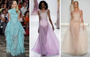 Plesová sezóny 2015 fandí průhledným šatům. Najdete je například v kolekcích Christian Siriano, Badgley Mischka nebo Monique Lhuillier.