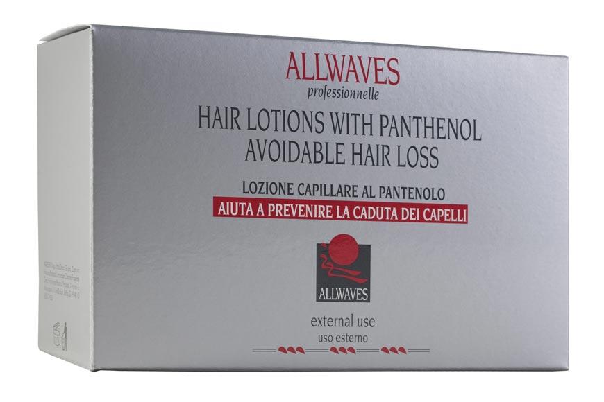 Allwaves Lotions With Panthenol Avoidable Hair Loss je placentární výtažek s panthenolem, který omezuje vypadávání vlasů a to velice rychle, už po několika aplikací účinné látky do pokožky hlavy.