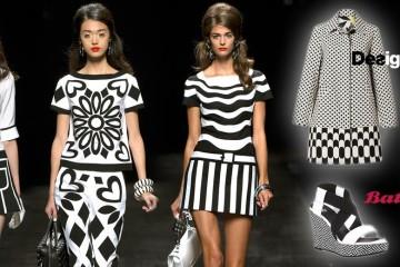 Černobílá kombinace je vždy efektní. Na oblečení, na botách, na kabelkách i na módních doplňcích vždy zaujme.