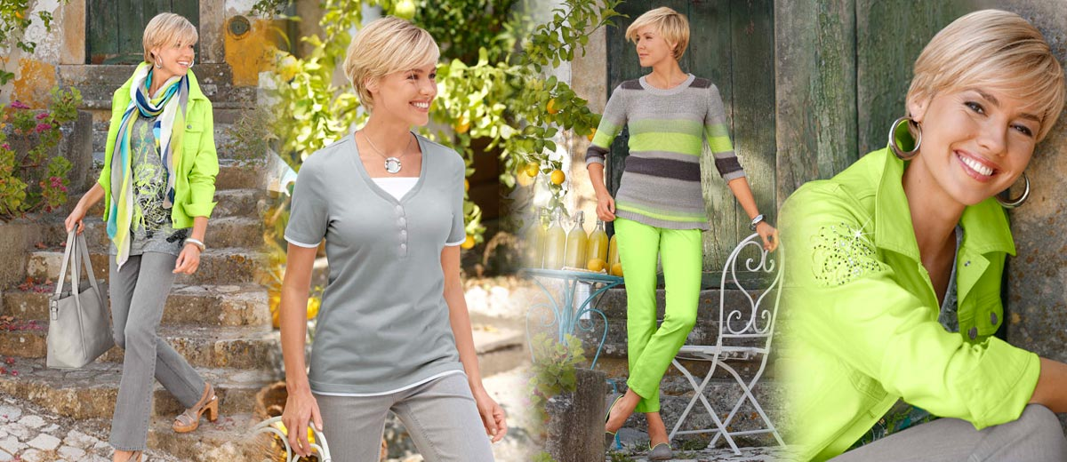 Přímo jarní nálada čiší také z modelů KLiNGEL v citrusovo-neonové zelené, kterou designéři značky bravurně zkombinovali se šedou a se zajímavými vzory. Pojďte se zahryznout do jara!