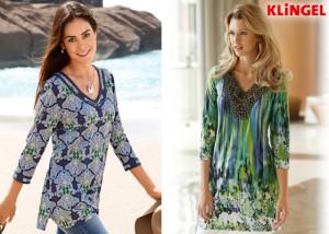 Vlevo: Tunika z kolekce KLiNGEL z lehkého tričkového materiálu z bavlny s allover potiskem. (Cena: 549 Kč) Vpravo: Tričková tunika KLiNGEL ze splývavého materiálu s vyšívaným výstřihem a 3/4 rukávy. (Cena: 1199 Kč)