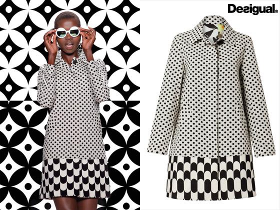 Kabát z kolekce Desigual inspirované 60 léty – kolekce je určena pro sezónu jaro/léto 2014.