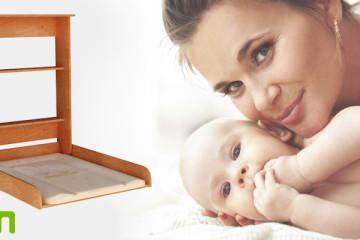 Přebalovací pulty jsou základním nábytkem, kterým po narození potomka musíte dozařídit interiér vašeho bytu nebo domu. (Přebalovací pult na obrázku je české výroby a vyrábí jej firma myHM design.)