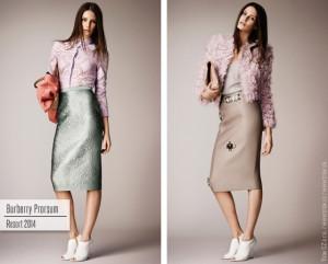 Pastelovo meruňková a nude kabelka skvěle doplnily pastelové oblečení Burberry Prorsum. Máslovo-bílé boty nic nekazí.