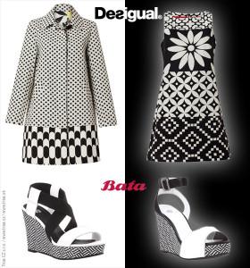 Černobílé oblečení – šaty a kabáty z jarní kolekce Desigual skvěle zkombinujete s černobílými sandály Baťa.