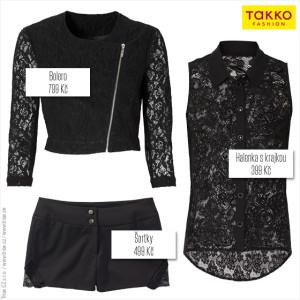 Krajková kolekce Takko Fashion: bolerko, halenku, šaty, šortky i top zdobí černá krajka.