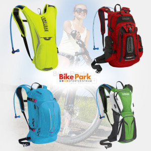 Cyklistické batohy, nazývané camelbaky – vyberete si barvu tvar i velikost vodního rezervoáru. Camelbak je ze sortimentu e-shopu Bikeparkmost.cz