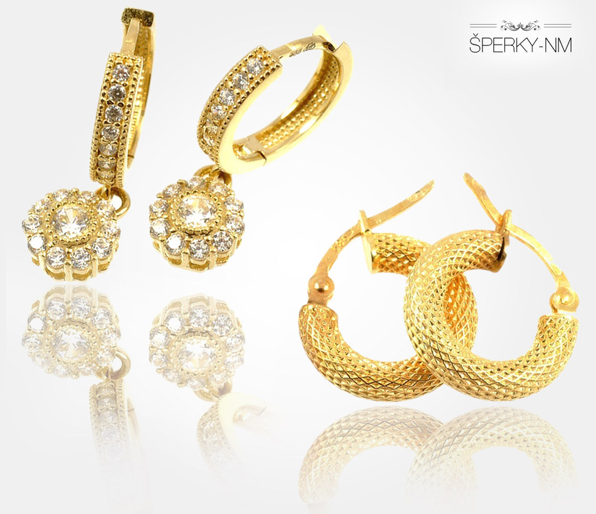 Zlaté náušnice, či už ze žlutého nebo bílého zlata, jsou sázkou na jistotu. Potěší dospělé ženy, teenagerky i malé holčičky.
