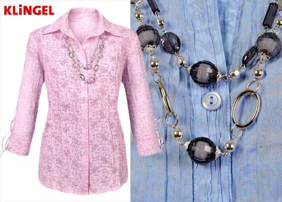 Halenka Paola s náhrdelníkem odláká pozornost od silnějších paží. V nabídce KLiNGEL ji najdete v několika barvách. (Cena: 899 Kč)