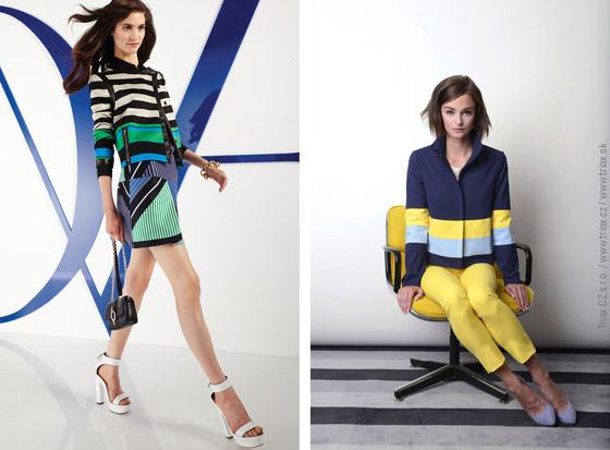 Na vlnách je námořnický styl oblečení s novými pravidly – naučte se je! Modely z kolekcí Resort 2014: vlevo Diane von Furstenberg, vpravo Lisa Perry.