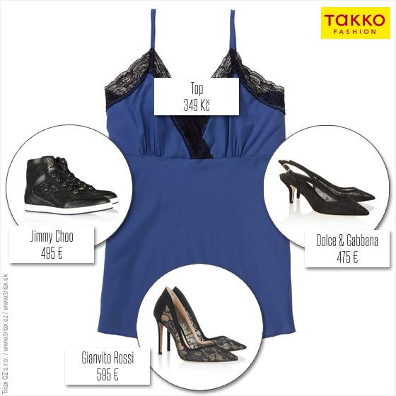 ednoduchý topík z Takko Fashion vykouzlí v kombinaci s různými botami různé outfity! Na ukázku jsme vybrali značkové luxusní boty Jimmy Choo, Dolce&Gabbana a Gianvito Rossi. Je to ukázka, jak dokonale lze kombinovat levné s luxusním. Vy můžete podobné boty koupit v Ba'ta, Humanic, CCC, DAnea nebo třeba v Deichmann obuvi.