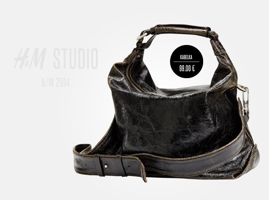 Kabelka H&M Studio vypadá jak z tlusté obnošené hovězí usně.