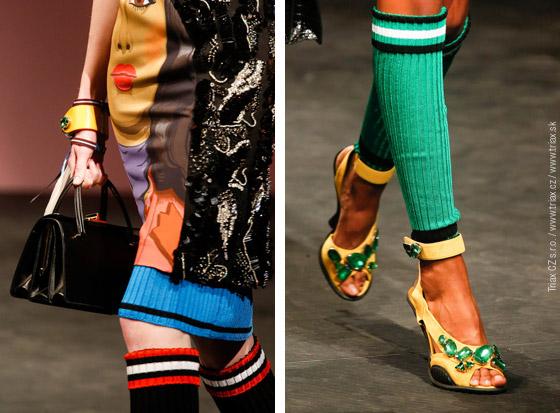 Luxusní a levně-sportovní v jednom outfitu: to jsou nové kombinace Prada pro jaro a léto 2014.