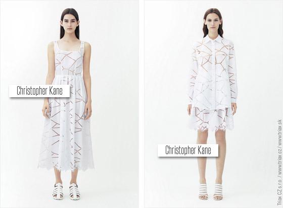 S průhlednými efekty na bílých outfitech si v Resort kolekci hrají například Christopher Kane nebo J. Mendel.
