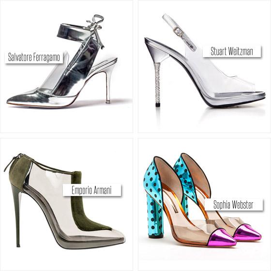 Průhledné boty z aktuálních módních kolekcí obuvi, které skvěle korespondují s módním trendem – Ukaž a skryj!