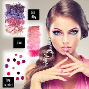 K růžovému oblečení patří v předjarní sezóně patří make-up ve všemožných odstínech růžové a fialové.