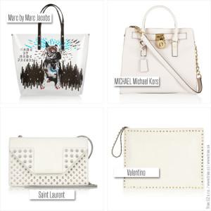 Bílé kabelky z kolekcí Marc by Marc Jacobs, Michael Michael Kors, Saint Laurent a Valentino.