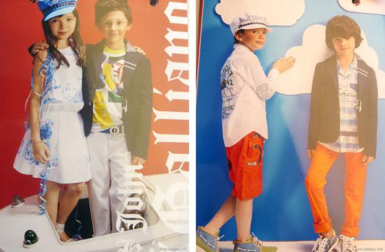 Hrdinou módní značky John Galliano Kids je malý námořník či malá oceánografka skoumající mořské dno, podmořské živočichy, rostliny.