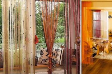 Provázkové záclony jsou skvělým řešením pro klasický, retro i hypermoderní interiér.