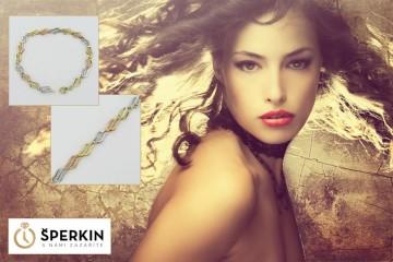 Zlaté šperky kombinující tři druhy zlata jsou znovuobjeveným trendem. Zlatý náramek je z sortimentu e-shopu Sperkin.cz.