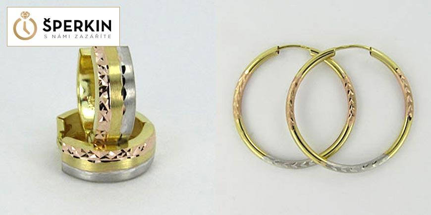 Zlaté šperky ze Sperkin.cz – zlaté náušnice ze tří druhů zlata.
