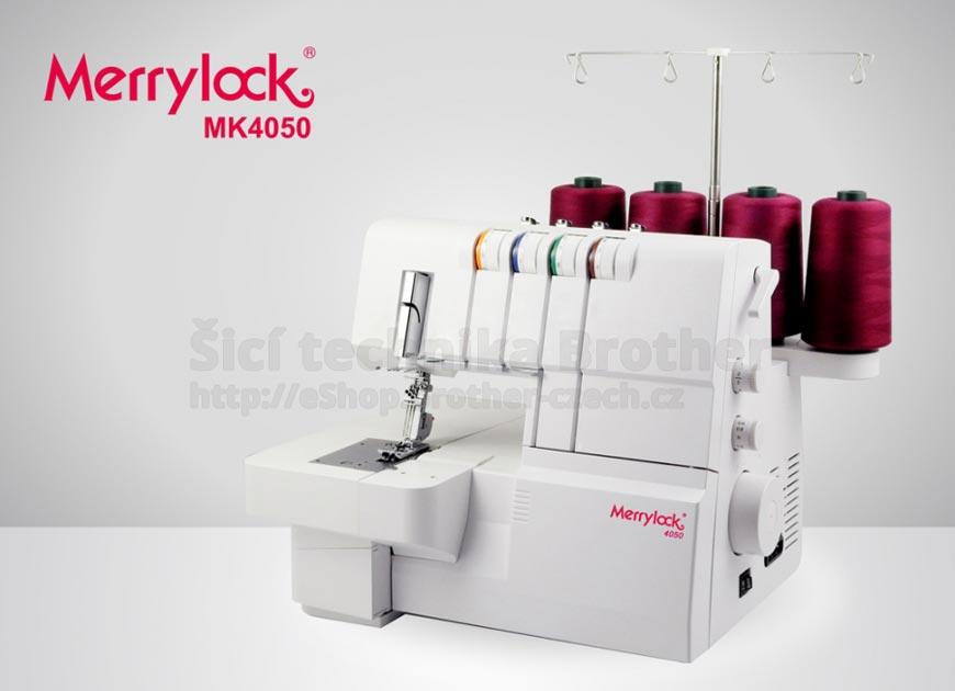 Coverlock MK 4050 MERRYLOCk: dvou až tříjehlový pokrývací šicí stroj, spodem krycí, s automatickým napětím, volným ramenem a velkou šicí plochou.