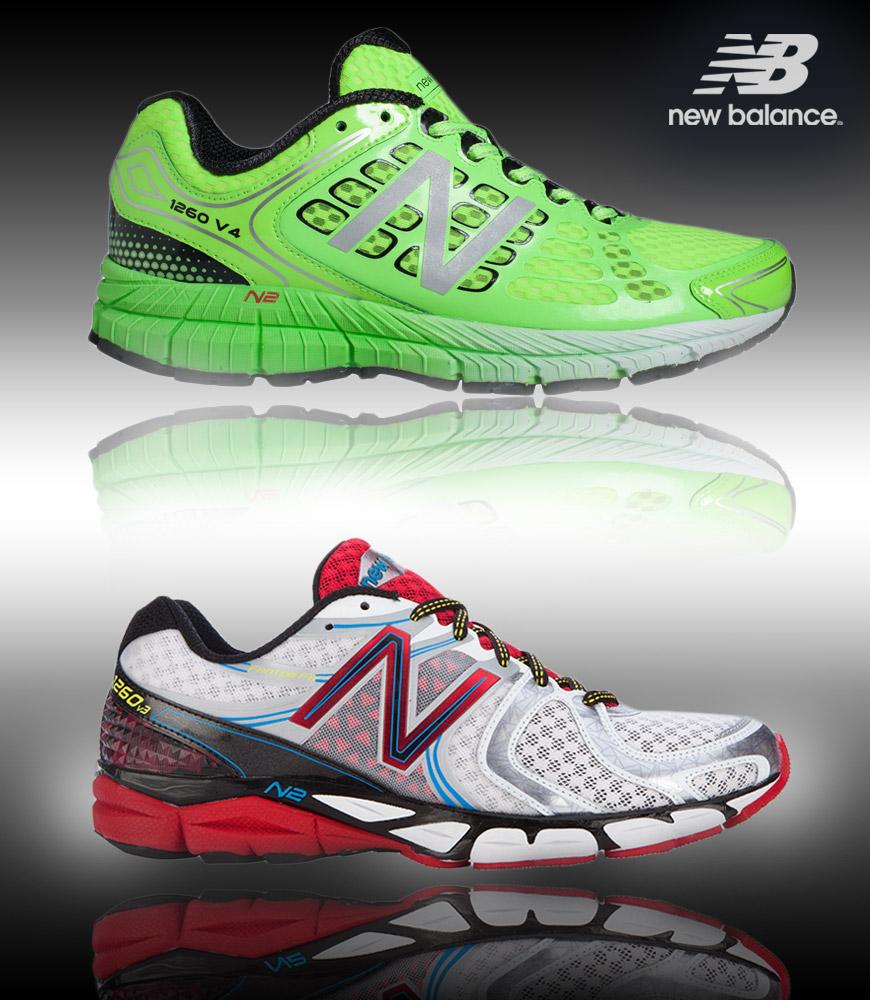 New Balance pánské běžecké boty s pronační podporou a technologií Abzorb. Na obrázku jsou boty New Balance M1260GG4 a M1260WR3. Pronační podpora je vhodná zejména u nohu do X nebo do O.