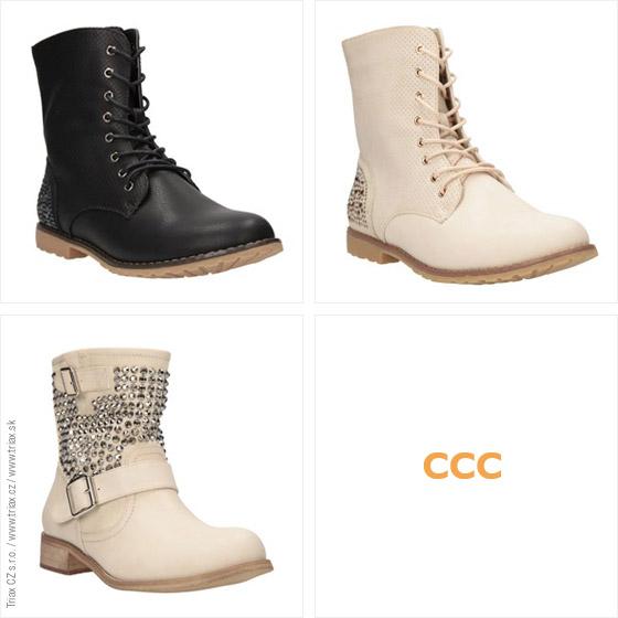 Kotníkové boty CCC jsou inspirovány motorkářskou módou. Drsné vybíjení nahradil štras a jiné třpytky. (Cena: 899 Kč)