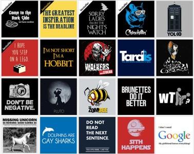 Vtipná trička z Geekshirts.cz zdobí tyto a mnoho dalších potisků.