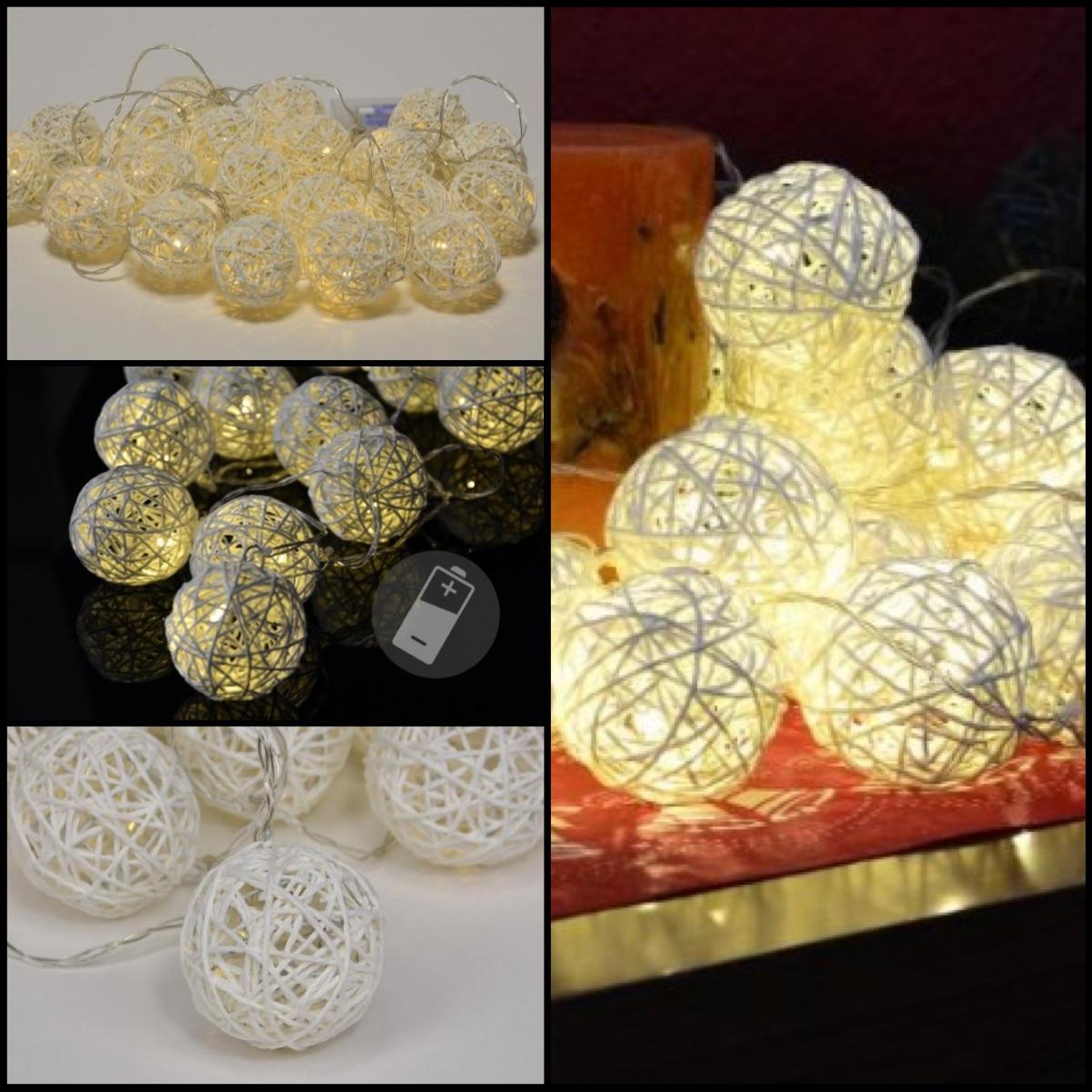 Vánoční LED osvětlení v podobě ratanových koulí neurazí v při tradiční ani moderní vánoční výzdobě.