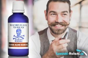 Oleje na vousy a knír pečují o pokožku, o kvalitu vousů, změkčují je a také tvarují. Na obrázků je olej na vousy Bluebeards Revenge Classic Blend. Koupíte jej v e-shopu Luxusni-holeni.cz.