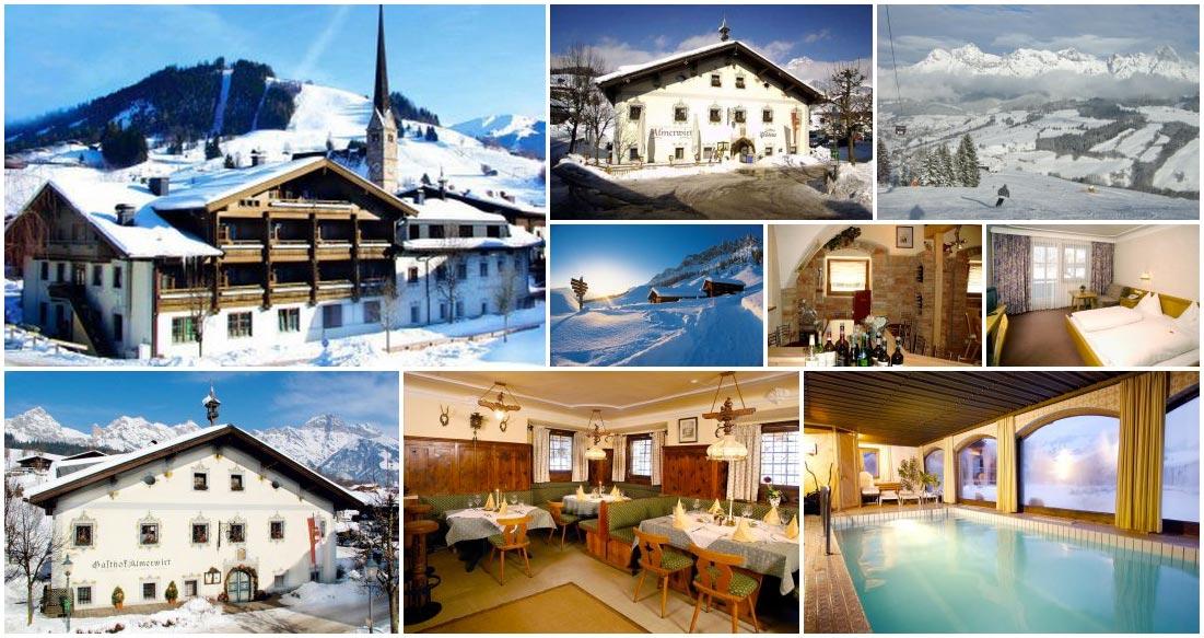 Užijte si lyžování v rakouských Alpách v lyžařském středisku Hochkönig – Maria Alm. Nádherné ubytování poskytuje hotel Hotel Almerwirt (Landgasthof).