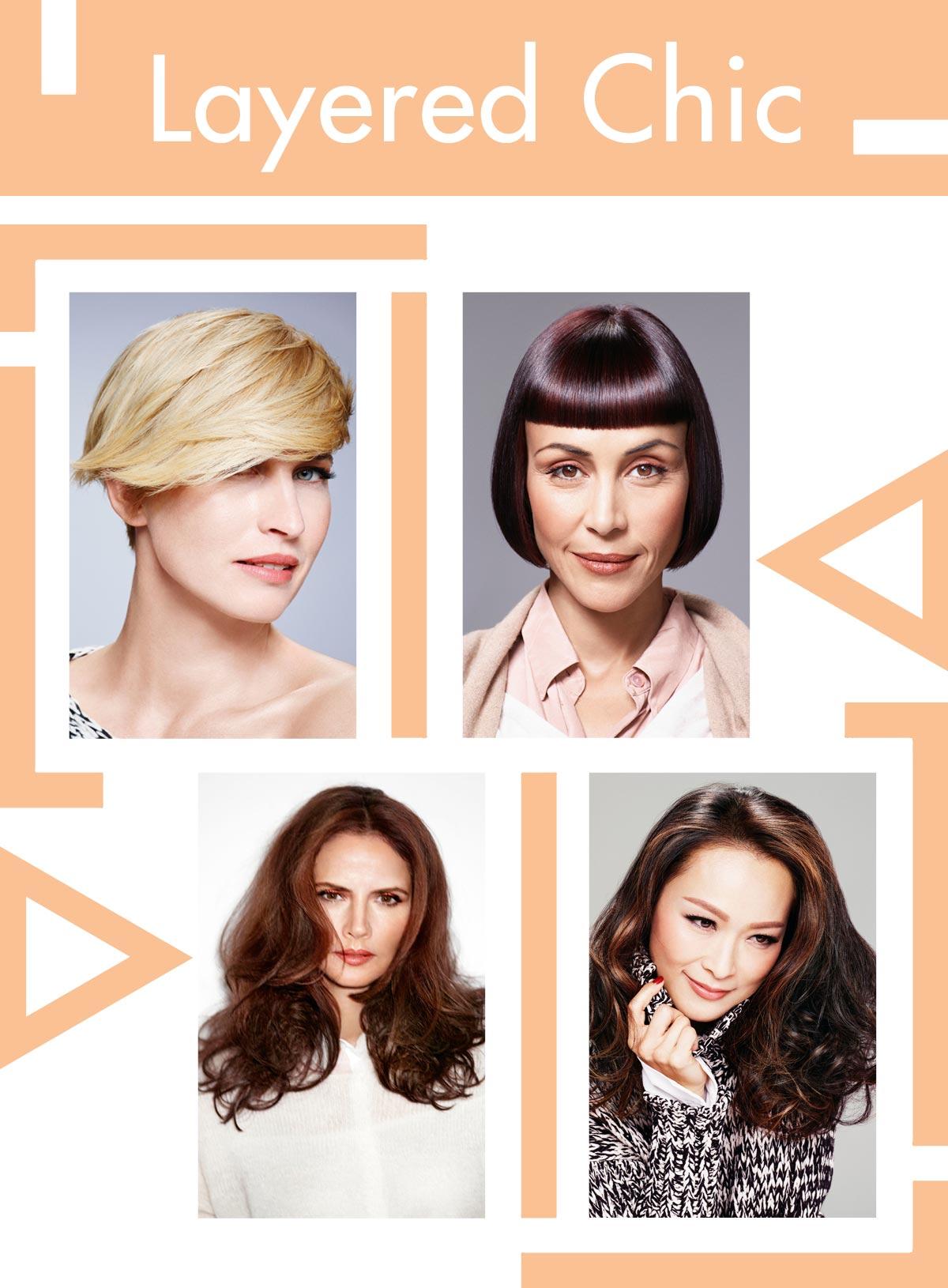 Trendy účesy pro starší ženy Schwarzkopf Professional – Layered Chic.