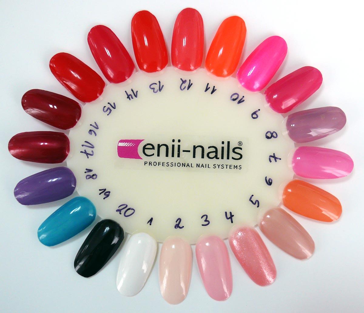 Vzorník laků na nehty ENII WEEK POLISH obsahuje 20 barev. Přírodní laky na nehty ENII WEEK POLISH jsou šetrné k našim nehtům i k přírodě Neobsahují formaldehydovou pryskyřici, formaldehyd, toluen, dibutylftalát ani kafr.