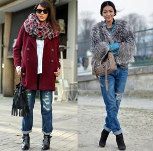Boyfriend džíny můžete nosit i vzimě. (Zdroj: Fashionodor.com a Thestylishstandout.com)