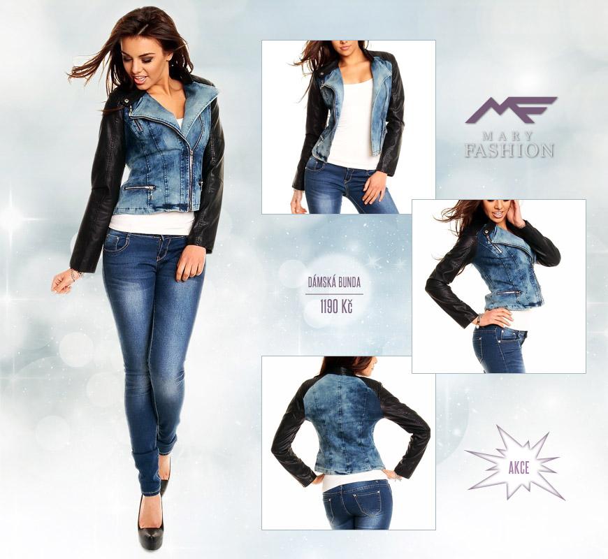 Dámská bunda Best Emilie – Jeans/Leather z Mary-fashion.cz. (Cena – nyní ve slevě: 1190 Kč)