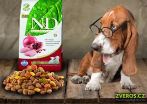 Kvalitní krmiva pro štěňata nabízí značka. N&D. N&D Puppy S/M Chicken & Pomegranate Dog obsahuje 70 % kuřecího masa a 330 % ovoce. Koupíte jej v nabídce Zveros.cz.