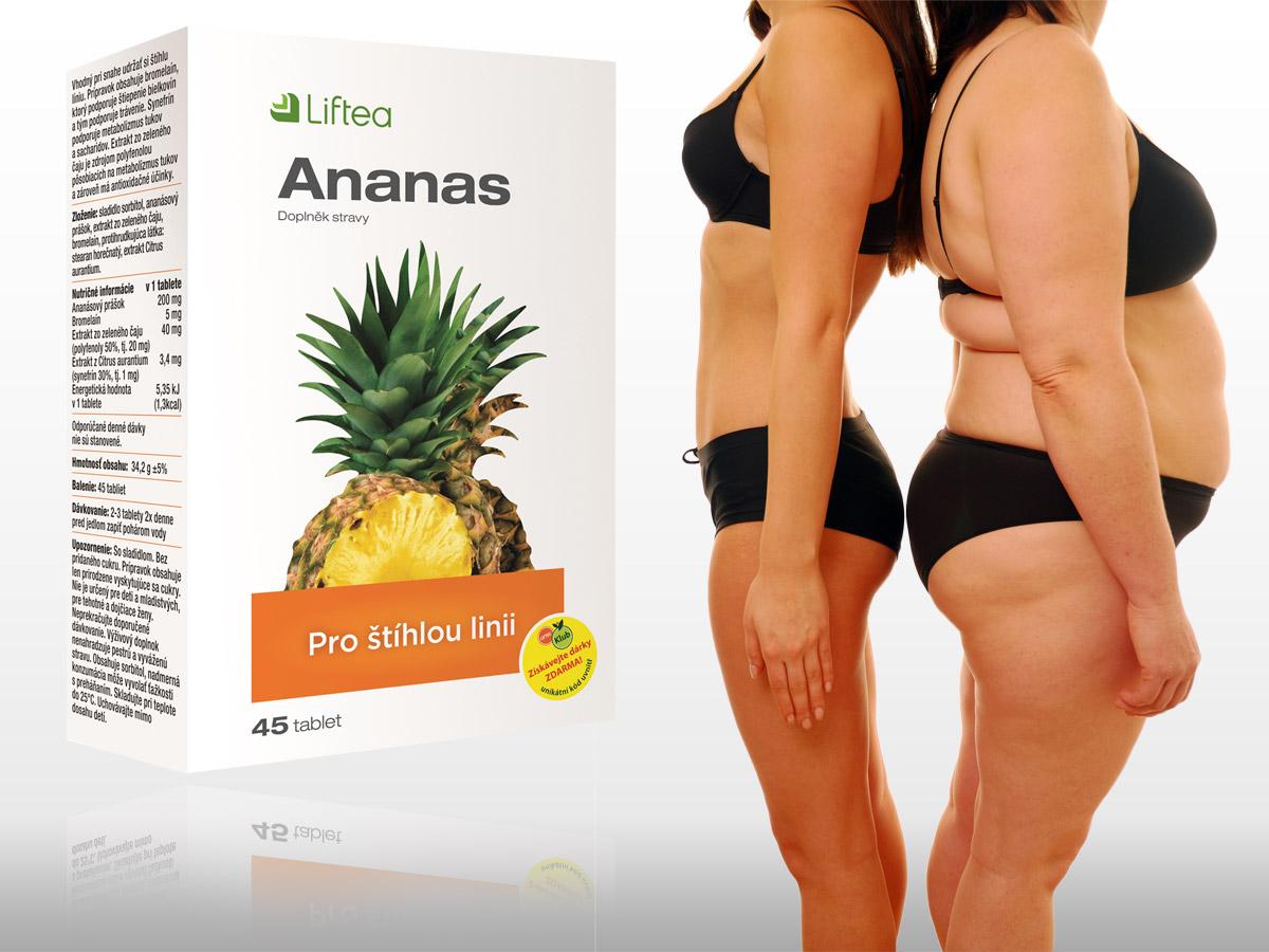 LIFTEA Ananas je pro štíhlou linii skvělým partnerem. Výtažky z ananasu, divokého pomeranče a zeleného čaje vám pomůžou účinně, méně namáhavě a trvala zhubnout.