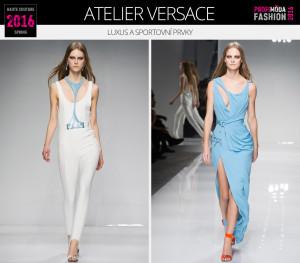Luxus a sportovní prvky dokážou být ve vzájemném kontrastu a harmonii současně. (Modely jsou z kolekce Atelier Versace – Haute Couture Spring 2016.)
