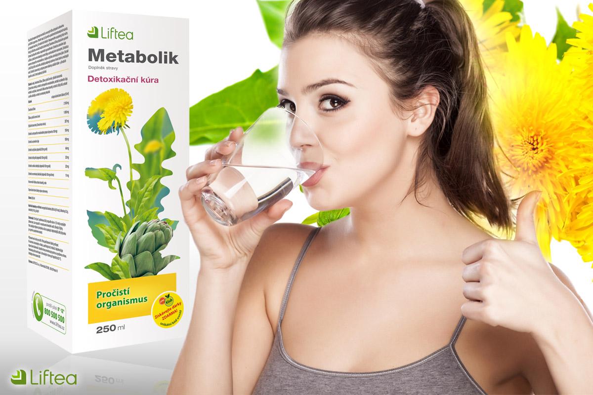 Přípravek Metabolik od Liftea nastartuje váš metabolismus při detoxikační kúře. Užívá se jako sirup rozmíchaný ve vodě.