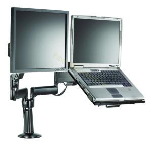 Stolní držák laptop a externí monitor. (Výrobek na obrázku je od společnosti Fiber Mounts – Drzakyastolky.cz.)